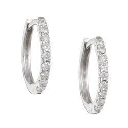 14k White Gold 1/5ct TDW Diamond Hoop Earrings (H-I, I3)