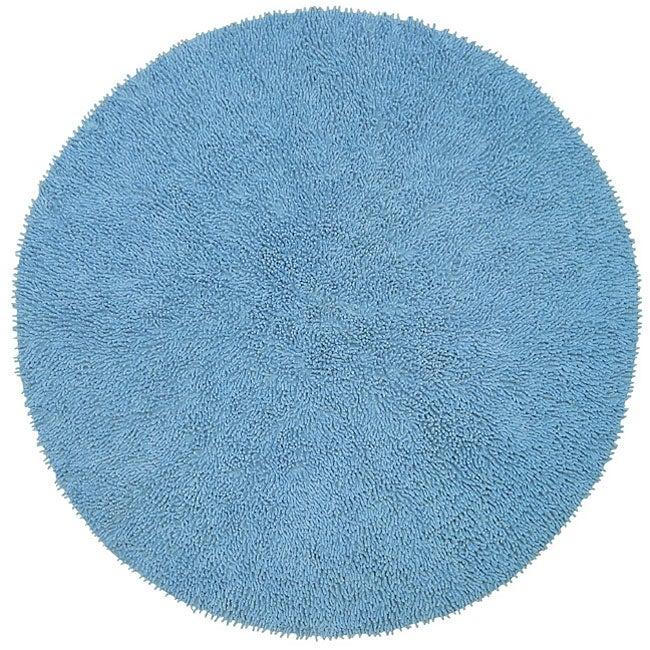 Chenille Blue Shag Rug (5' Round