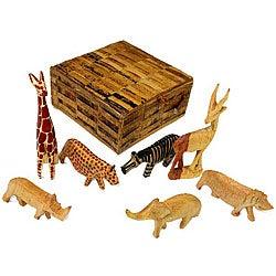 Set of 7 Wood Animal Miniatures with Box (Kenya)