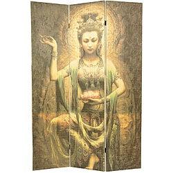 Kwan Yin with Lotus 6-foot Bamboo Room Divider (China)