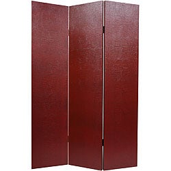 Faux Leather Burgundy Crocodile Room Divider (China)