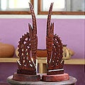 Set of 2 Wood 'Bambara Antelopes' Statues (Ghana)
