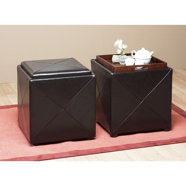 Chocolate Leather Storage Cube with Wood Serving Tray