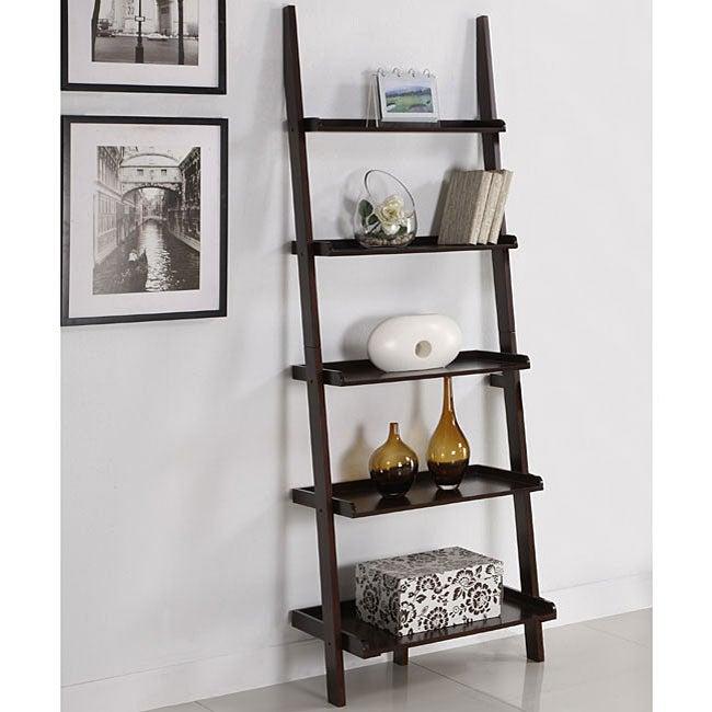 Walnut Five Tier Ladder Shelf