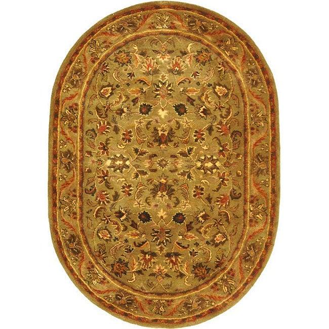 Safavieh Handmade Antiquities Kasadan Olive Green Wool Rug (7'6 x 9'6 Oval)