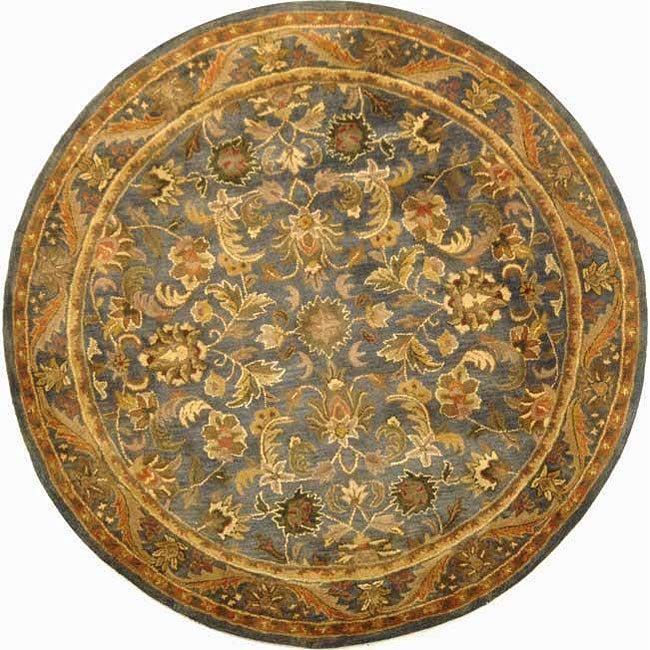 Safavieh Handmade Exquisite Blue/ Gold Wool Rug (6' Round)