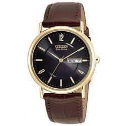 Citizen Men's BM8242-08E Eco-Drive Goldtone Case Brown Leather Watch