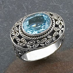 Sterling Silver Blue Topaz 'Cawi' Ring (Indonesia)