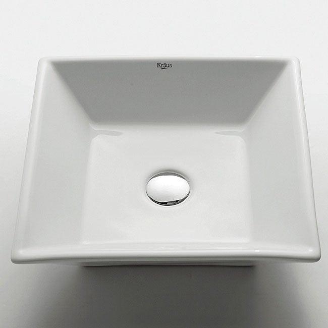 Square Vessel Sink White : Kraus Square White Ceramic Lavatory Vessel Sink - Overstock ...