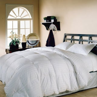 Hotel Grand Oversized 500 Thread Count Damask Stripe White Down Comforter