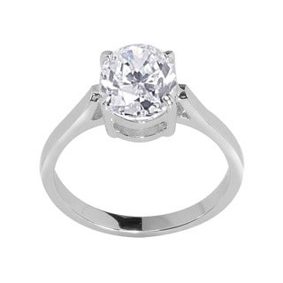 NEXTE Jewelry Silvertone Oval CZ Bridal-inspired Solitaire Ring