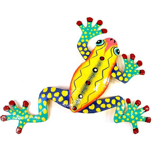 Recycled Oil Drum Yellow Frog Wall Art (Haiti)