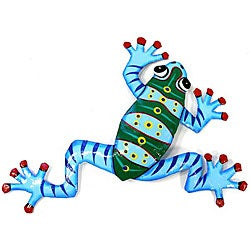 Recycled Oil Drum Blue Frog Wall Art (Haiti)