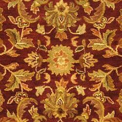 Safavieh Handmade Exquisite Wine/ Gold Wool Rug (6' x 9')