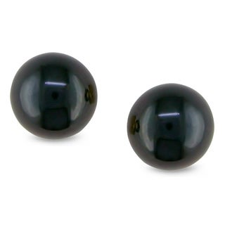 M by Miadora 14k Gold Dark Navy Cultured Freshwater Pearl Earrings (7-7.5 mm)