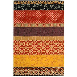 Safavieh Handmade Rodeo Drive Collage Rust/ Gold N.Z. Wool Rug (5' x 8')