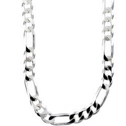 Sterling Essentials Sterling Silver 8mm Diamond-Cut Figaro Chain (24-inch)