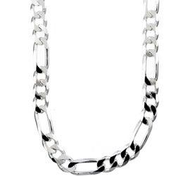 Sterling Essentials Sterling Silver 30-inch Diamond-Cut Figaro Chain (8mm)