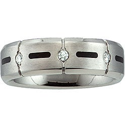 Titanium 1/10ct TDW Diamond Men's Wedding Band (H-I, I1-I2)