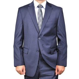 Men's Solid Navy Blue 2-button Wool Suit