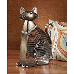 Metallic Figurine Cat Fan
