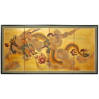 Gold Leaf 'Dragon in the Sky' Silk Screen Painting (China)