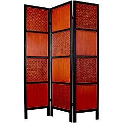 Rattan and Mahogany Wood 6-foot 3-panelTainan Screen (China)