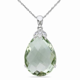 Miadora 10k White Gold Green Amethyst and Diamond Necklace