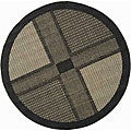 Safavieh Indoor/ Outdoor Lakeview Black/ Sand Rug (5'3 Round)