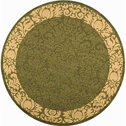 Safavieh Indoor/ Outdoor Kaii Olive/ Natural Rug (5'3 Round)