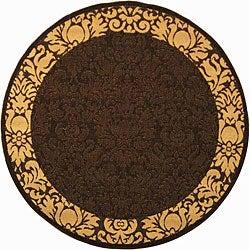 Safavieh Indoor/ Outdoor Kaii Chocolate/ Natural Rug (5'3 Round)
