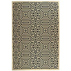Safavieh Indoor/ Outdoor Matrix Sand/ Black Rug (5'3 x 7'7)