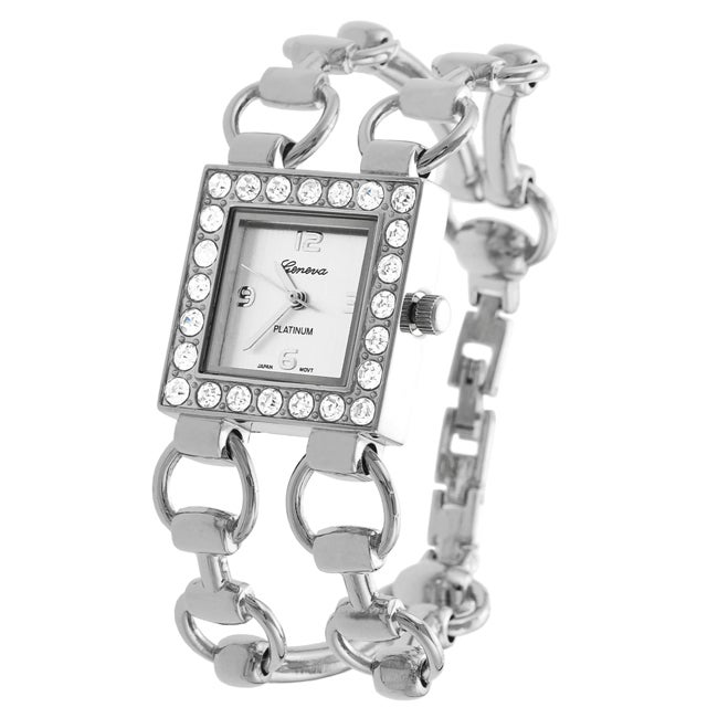 Geneva Platinum Women's CZ Double-bracelet Watch