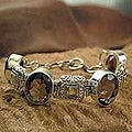 Silver Smokey Quartz/ Citrine 'Imperial' Bracelet (India)