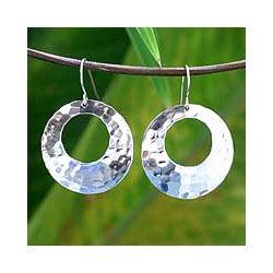 Sterling Silver 'Halo' Dangle Earrings (Thailand)