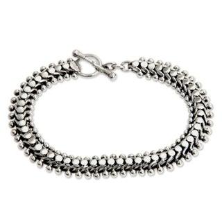 Sterling Silver 'Centipede Crawl' Link Bracelet (Indonesia)