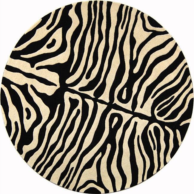 Safavieh Handmade Soho Zebra Print Black/ Ivory N. Z. Wool
