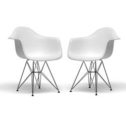 Baxton Studio Ayers Wire Base Arm Chairs (Set of 2)