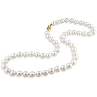 Miadora 14k Yellow Gold White Cultured Freshwater Pearl Necklace (7-7.5 mm)