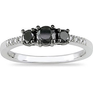 Miadora 10k Gold 1/2ct TDW Black and White Diamond Three Stone Ring (I-J, I2)
