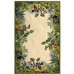 Safavieh Hand-hooked Safari Beige/ Green Wool Rug (8'9 x 11'9)