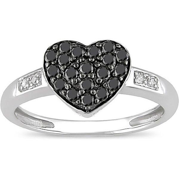 Miadora 10k White Gold 1/3ct TDW Black and White Diamond Ring (I-J, I2)