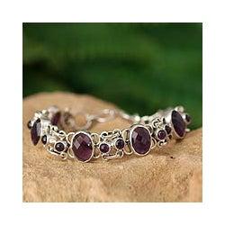 Silver Amethyst 'Royal Purple' Link Bracelet (India)