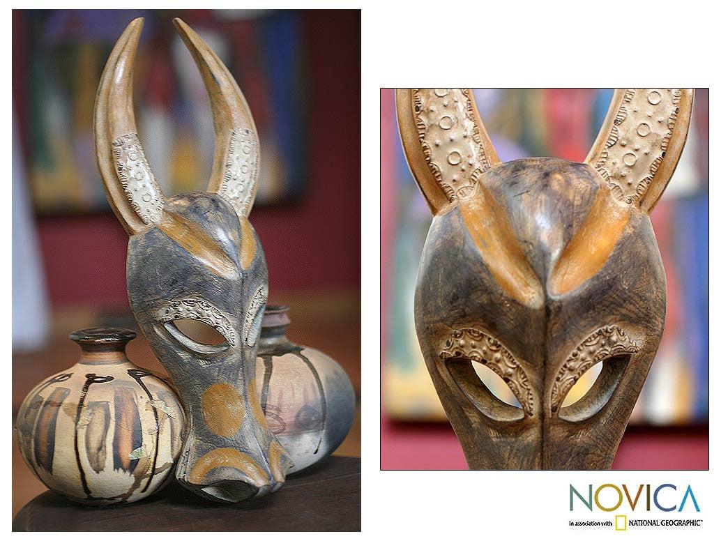 Sese Wood and Brass 'Brave Buffalo' Mask (Ghana)