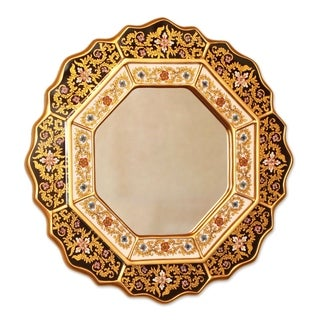 Hand-painted 'Black Star' Mirror (Peru)