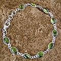 Sterling Silver 'Elegant' Peridot Link Bracelet (India)