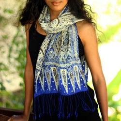 Silk 'Royal Java Blue' Batik Scarf (Indonesia)
