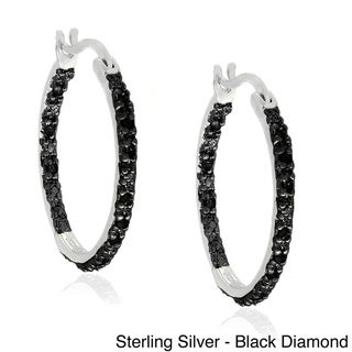Finesque Sterling Silver 1/4ct TDW Diamond Hoop Earrings (J-K, I3)