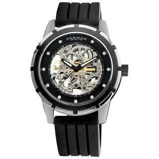 Akribos XXIV Men's Delos Skeleton Black Automatic Watch