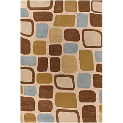 Hand-Tufted Mandara Cream New Zealand Wool Rug (7'9 x 10'6)